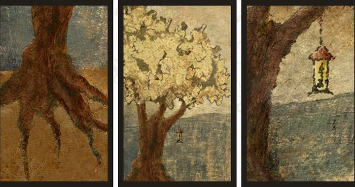 three images,1.tree roots, 2.trunk with crown,3.branch with light lamp. The habit of seeing trees without light lamp