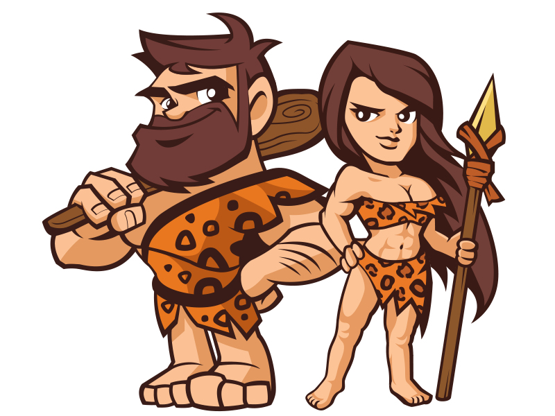 Caveman and cavewomen cartoon carachters