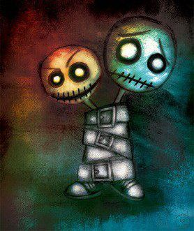 Two heads one body, cartoon representing emotionally dead