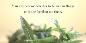 Man must choose whether to be rich in things or in the freedom use them.