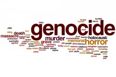the word genocide in bold letters