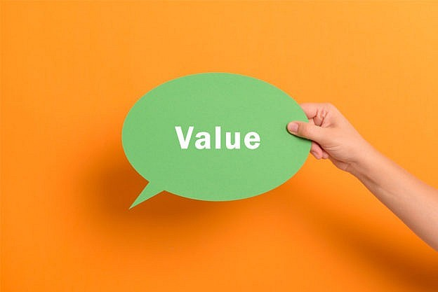 the word value in orange background
